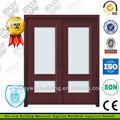 Interior de madera maciza puertas dobles de entrada de diseño