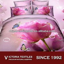 PINK big flower printed bed comforter sets 4pcs bedding cover set cotton 100%