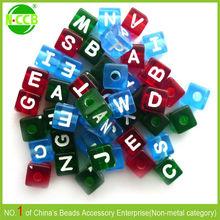 10mm mix color cube transparent colored letter beads