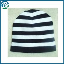 Striped Black & White Beanie Cap Punk Rock