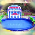 inflable de la natación de la piscina con tobogán de agua pequeño parque