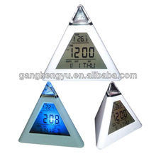 Pyramidal triangle alarm desk digital clock