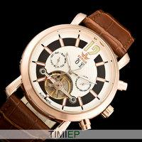 SEWOR NEW 2014 Rose Gold Tone Automatic Tourbillon Mechanical Mens Watch Men