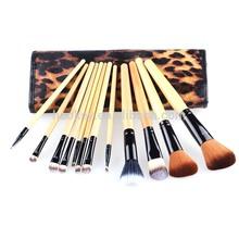 New Professional Makeup brush 12 PCs Brush Cosmetic Facial Make Up Set tools With Leopard Bag makeup brush tools