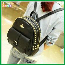Encai Punk Rivet Style PU Black Backpack/Travel Vintage Knapsack /High Quality Flap Backpack For Fashion Girls