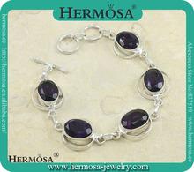 Top Selling Gadgets Silver 925 Purple Amethyst Women Magnetic Bracelet Y878