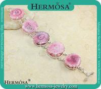 925 Sterling Silver Genuine Pink Solar Quartz Handcraft Gemstone Bracelet Y879