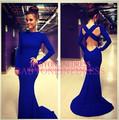 projeto o mais atrasado alta qualidade designer fornecedor china azul royal manga longa gola alta volta cruz baratos prom vestido sereia 2014