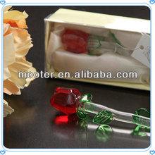 Nice Packing 6' Stem Red Crystal Glass Rose For Wedding Gift Favor