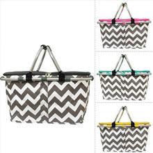 Chevron Print Insulated US Market Picnic Basket Cooler Tote Bag/Picnic Basket
