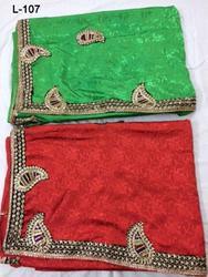 Orange & Green Wholesale Indian sari/saree with blouse stitching at Cheap prices