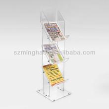 Floor standing clear acrylic brochure holders ,acrylic magazine holders