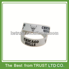 custom 2014 1 inch silicone wristbands, cheap filled silicone bracelets for baseketball