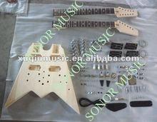 Double Neck Fly V Shape Guitar Kit,Unfinished Electric Guitar