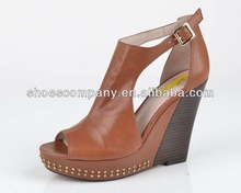Ladies fashion high wedge,with peep toe style and cut out detail