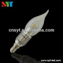 2012 hot sale!!! new design led e14 candel lamp, 3W led candle bulb best for chandelier