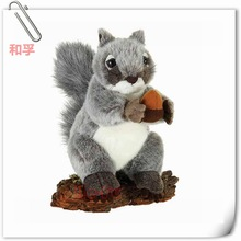 Gray And White Squirrel Of Soft Plush Stuffed Wild Animal Toy With Deal Apple