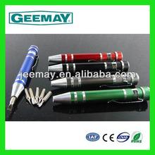 Aluminium pen shape 8 bits eyeglass repair screwdrivers