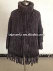1403- 45 100% Natural mink knitted shawls with fringes /fur pochos /mink fur cape
