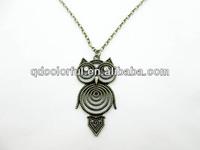 YN7191 wholesale cute rhinestone vintage owl pendant chain necklace jewelry