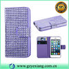 Crystal Decoration High End Leather Case For Iphone 5 Wallet Design