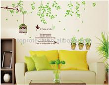 çıkarılabilir bir mezmur yaşam keyfi üzüntü yeşil ağaç kuş kafesi vinil duvar sanatı çıkartmaları ev oda çıkartma dekorasyon