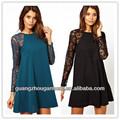 Novo 2014 plus size das mulheres summer long sleeve chiffon lace crocheted partido em torno do pescoço vestido curto barato mudança Dresse OEM