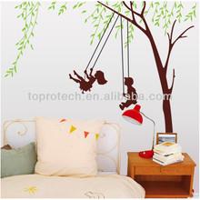 çıkarılabilir çocukluk anılarını itme salıncak yeşil ağaç duvar sanatı çıkartmaları ev oda çıkartma dekorasyon