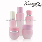 elegant pink cream and lotion glass cosmetic bottles set
