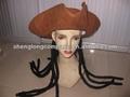 Sl14271 marrón de gamuza sombrero de pirata con peluca