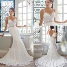 New Model Low Back White Flowing Chiffon Beach Wedding Dress 2014