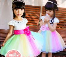 arco iris hermoso diamante cenicienta vestidos para niñas