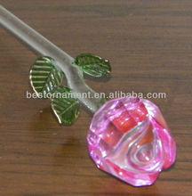 Pink Color Rose Crystal Flower For Valentine's Day