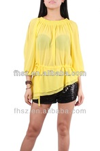 Latest ladies yellow blouse / fashion design lady blouse pakistani designer long kurtis...