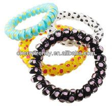 Bracelet spiral hairband hair elastic band 2014 fashions popular telephone wire bracelet for wholesaler