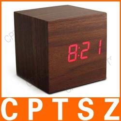 Sound Control Digital LED Wooden Clock
