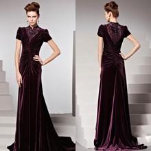 Elegant Royalty High Neck With Beading Pleat Evening Dresses Models Velvet
