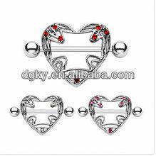 CZ Cross Your Heart Nipple Ring Shields