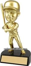 customized golden polyresin baseball bobble head figurine for table decoration