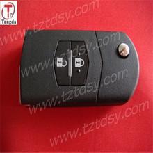 Tongda wholesales 2 button remote key case, flip key blank for mazda
