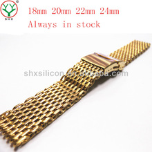 China mesh watch band, gold stainless steel watch band wholesale, manufacture