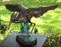 Bronze pelican birdling sculpture bird statue