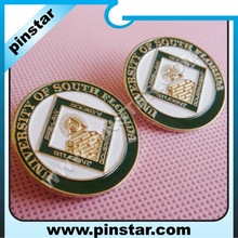 Metal round school lapel pin soft enamel school emblem for university