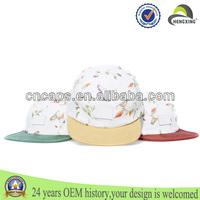 Suede brim leather patch floral print wholelsale flat brim tribal print 5 panel hat