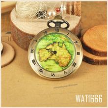Vintage Retro New Australia Map Roman Number Mens Quartz Pocket FOB Chain Watch