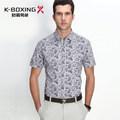 K- la marca del boxeo slim fit hombres manga corta sueltas de ocio camisa de algodón puro, 2014 nueva llegada