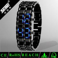 Classic lava style iron samurai red light metal led watch
