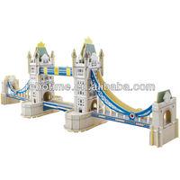 2014 New 3D DIY Edecational World Famous building model puzzle London Tower Bridge