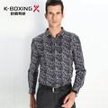 K- boxeo de marca de alta calidad de manga larga de algodón de seda de la moda slim camisa, nueva llegada