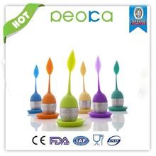Tea infuser silicone,silicone rubber tea infuser,leaf shape 100% silicone tea infuser